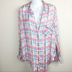Free People Long Sleeve Plaid Bottoms Down Shirt
